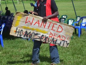 Demonstrator at August 2007 anti-gay rally in Kampala