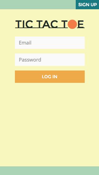Tic Tac Toe homepage