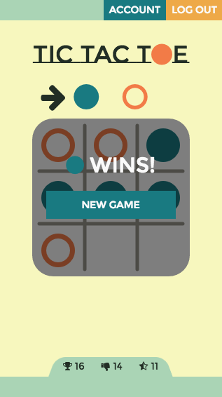 Tic-Tac-Toe: mobile game end